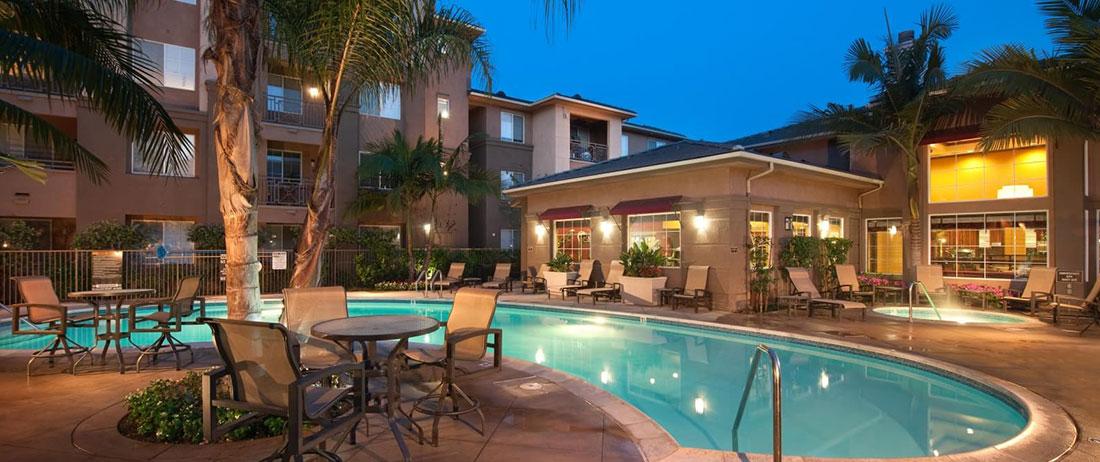 jefferson residences pool at night