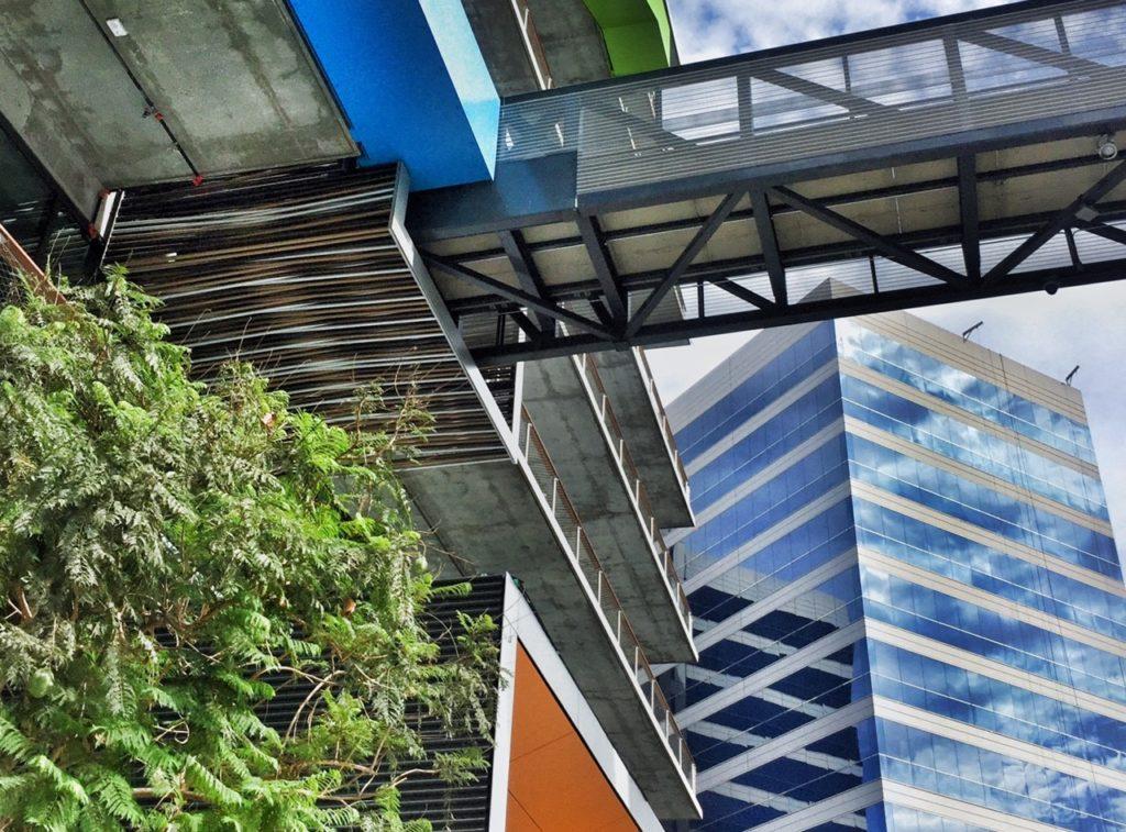 C3 features multiple sky bridges to the parking building