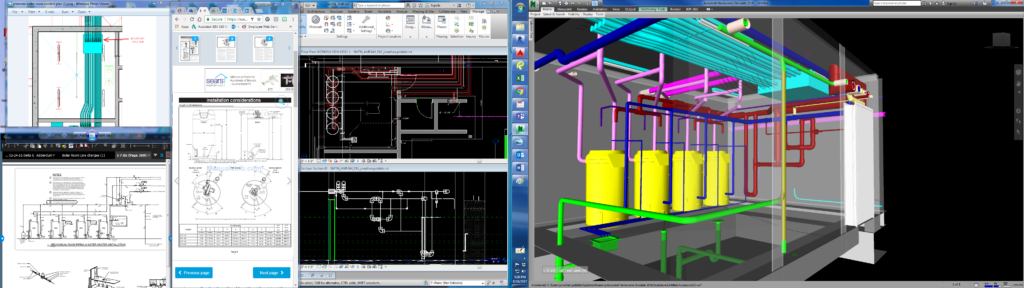 Plumbing Mechanical Room and Work Desktop Screenshot